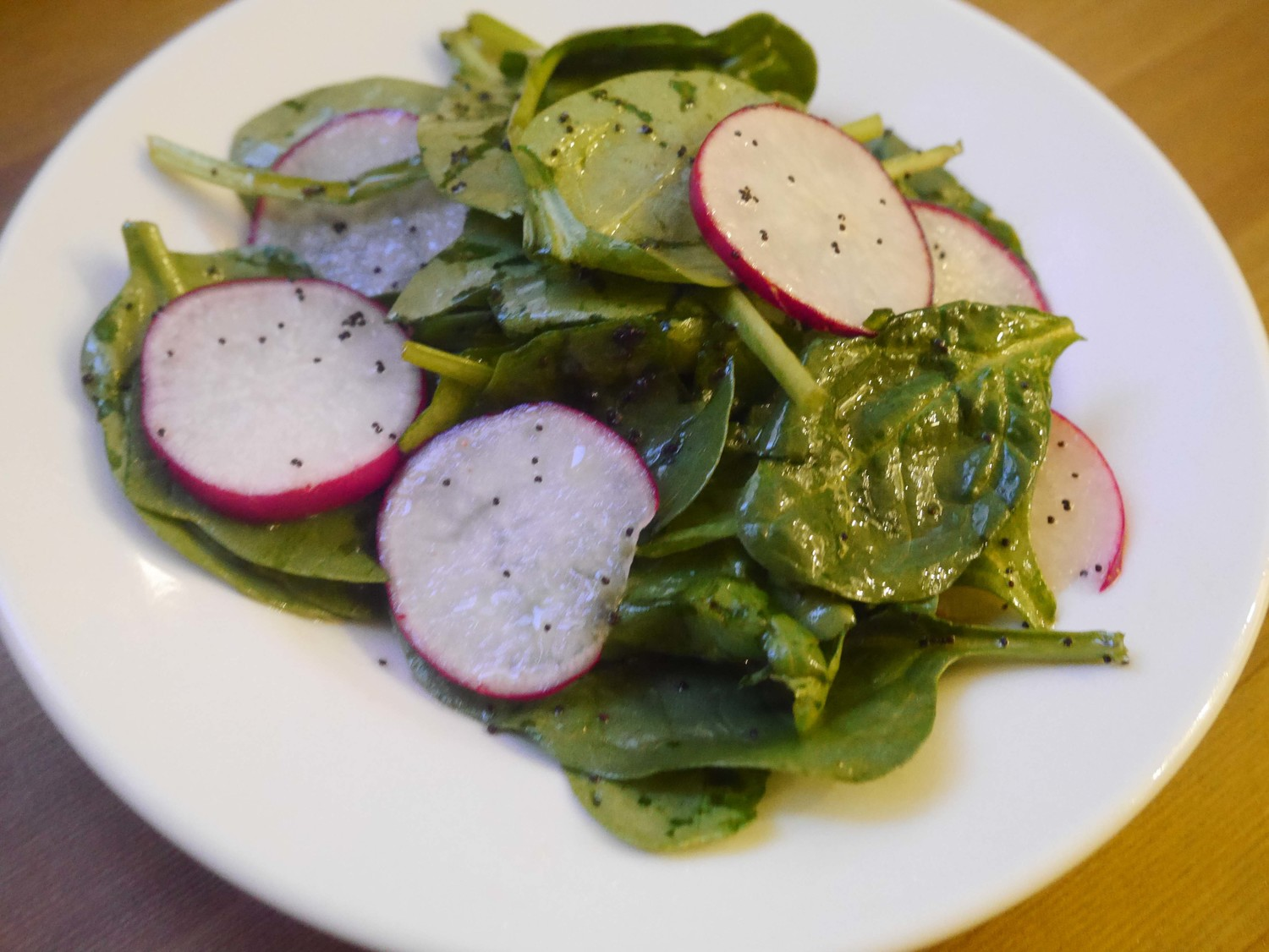 Spinach & Radish Salad with Lemon-Poppy Dressing