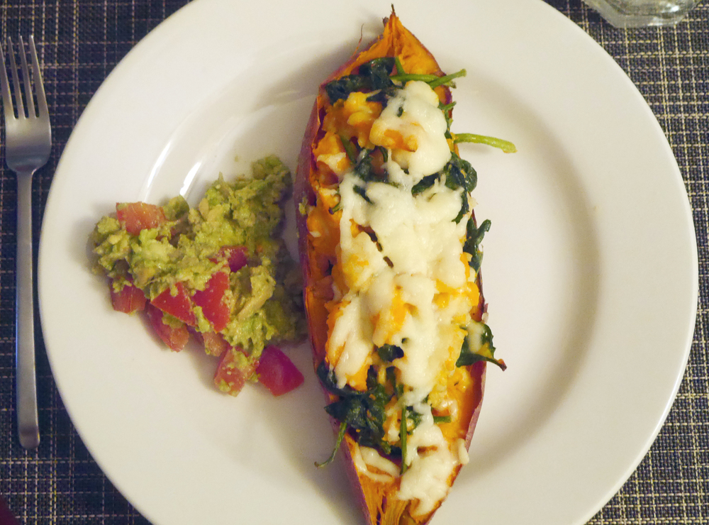 Sweet Potato Stuffed with Shrimp, Spinach, and Cheese