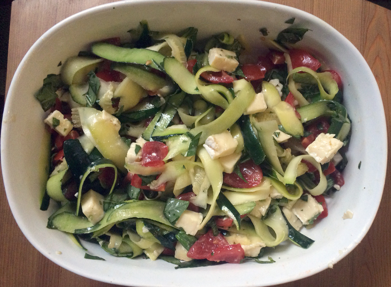 Zucchini Pasta with Brie, Tomato and Basil