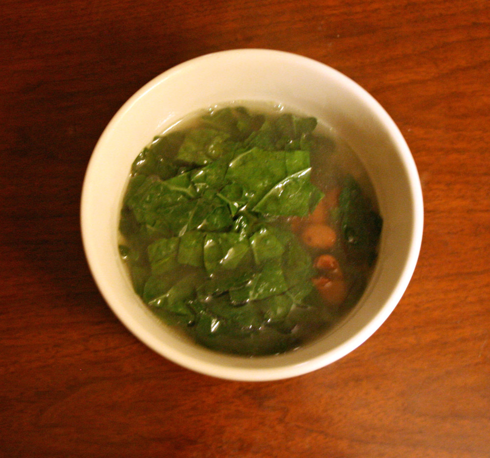 Parmesean Broth Soup with Kale and Beans