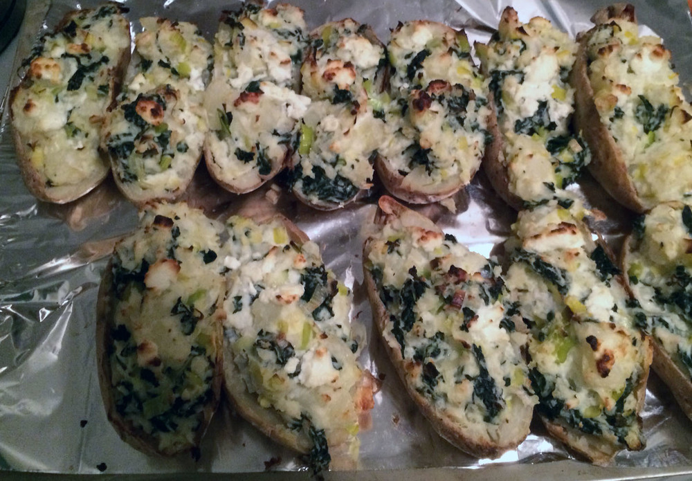 Twice-Baked Potatoes with Goat Cheese and Kale